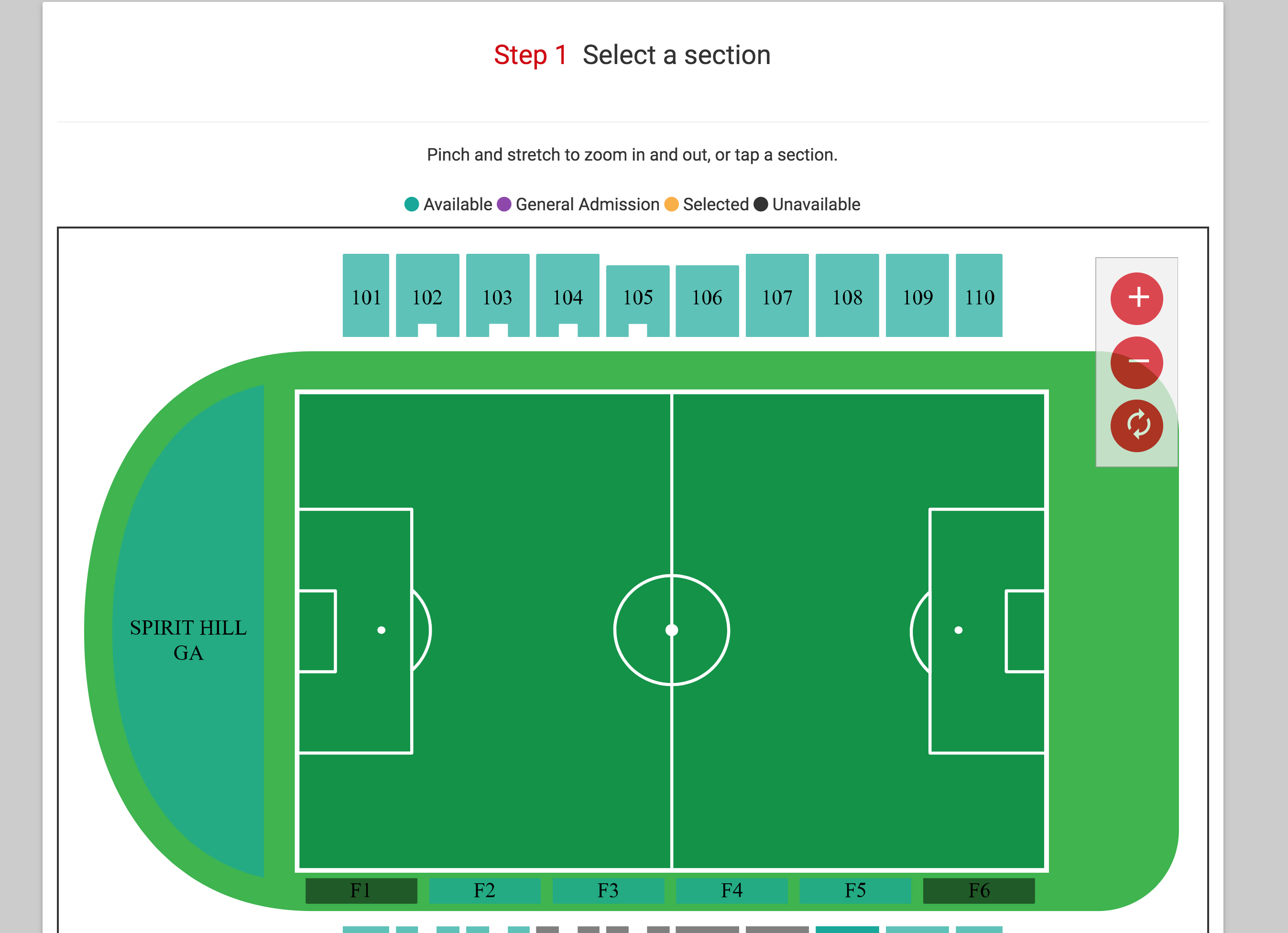 An example that shows seated venues created in the TicketSocket system.